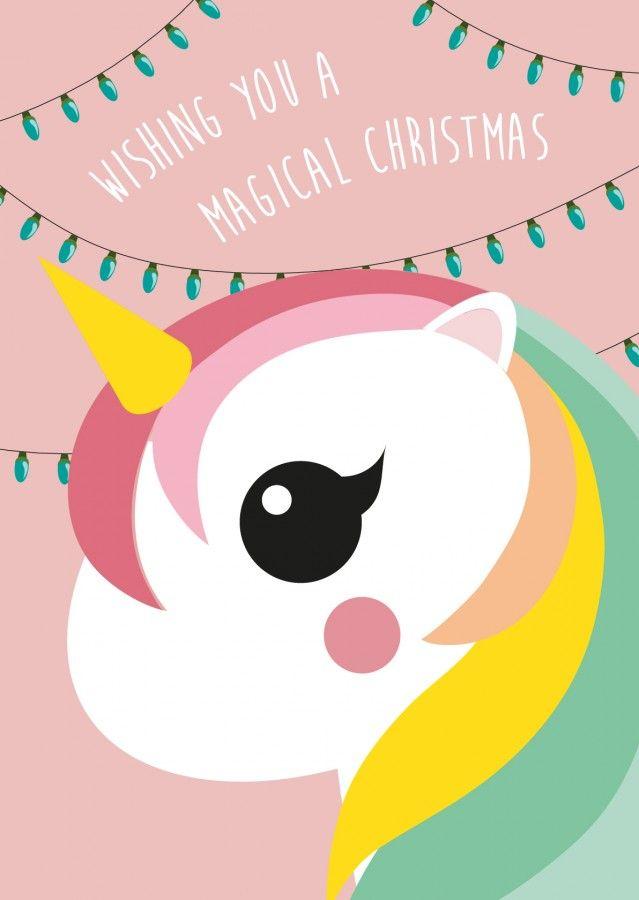 Kersttrui Poes.Kerstkaart Wishing You A Magical Christmas Eenhoorn Studio Inktvis