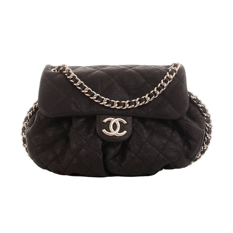 9edaa1f6f14ad6 Chanel Black Aged Lambskin Chain Around Medium Crossbody Messenger Bag    From a collection of rare