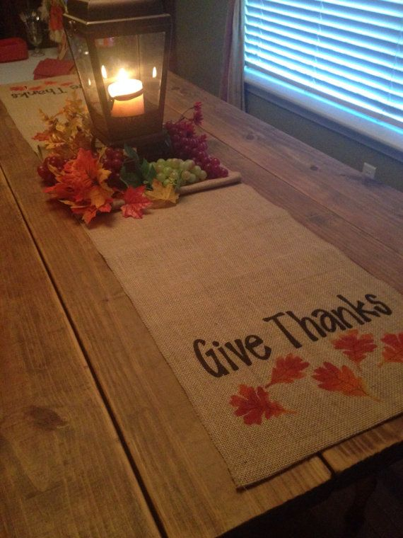 Thanksgiving Table Runner Burlap Table Runne With Finished Edges