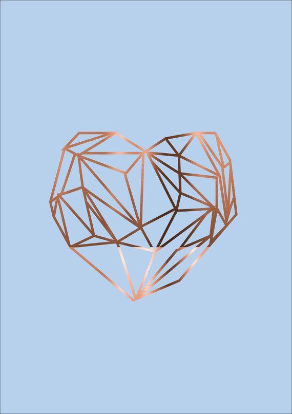 Set of 3 Copper Foil Posters Geometric Love heart Sparkle