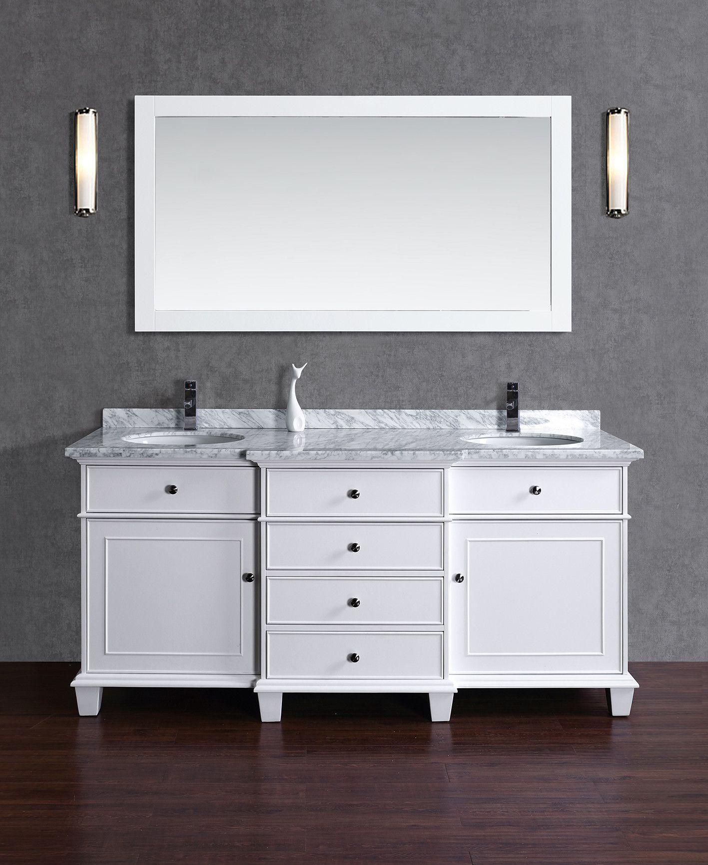 "Paris 60-Inch Espresso Double-Sink Bathroom Vanity With Mirrors alyn 72"" double bathroom vanity & mirror set | products"