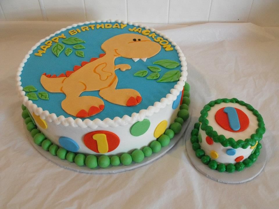 Dinosaur And Polka Dot 1st Birthday Cake 1st Birthday Cakes
