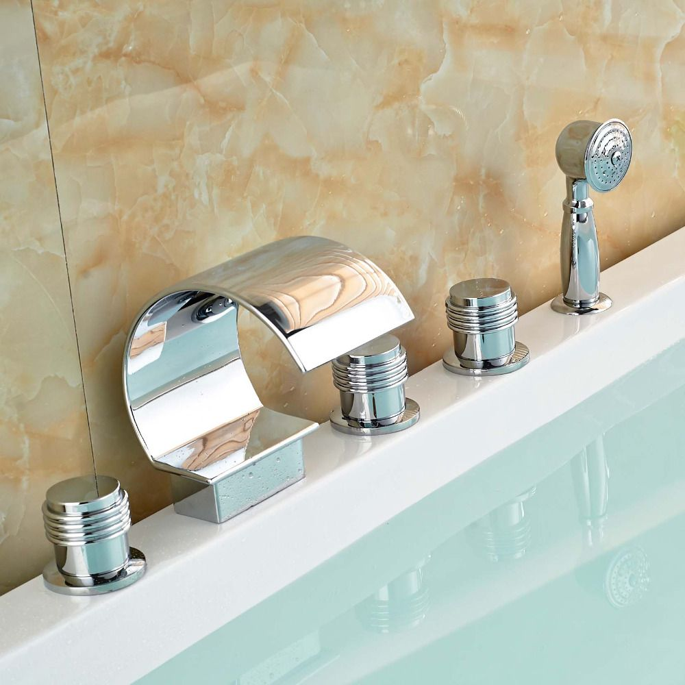 Polished Chrome Brass Waterfall Bathtub Faucet Deck Mount Bathroom Tub  Water Taps With Hot Cold Water