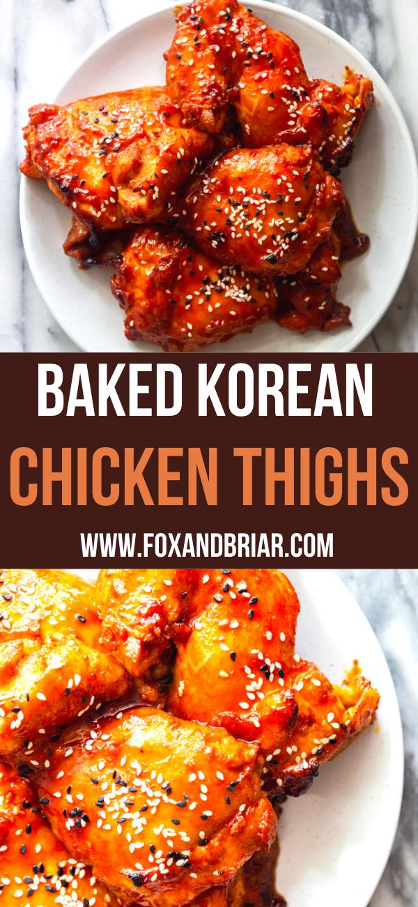 Baked Korean Chicken Thighs Recipe Chicken Thigh Recipes Baked Spicy Baked Chicken Korean Chicken