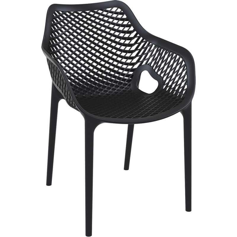 Fauteuil De Jardin Moderne Ajoure En Polypropylene Noir Air 6 8 Chaise D Exterieur Chaise De Jardin Chaise Salle A Manger