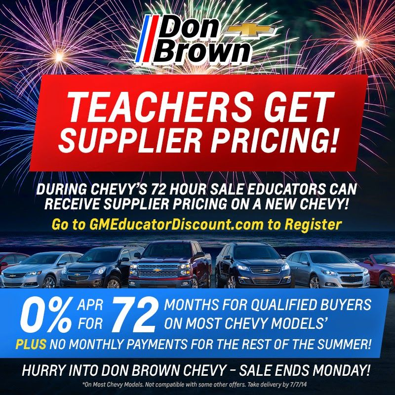 Don Brown Chevy >> 72 Hour Sale At Don Brown Chevrolet Don Brown Blogs 72