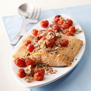 Salmon With Roasted Tomatoes And Shallots Have A Bounty Of