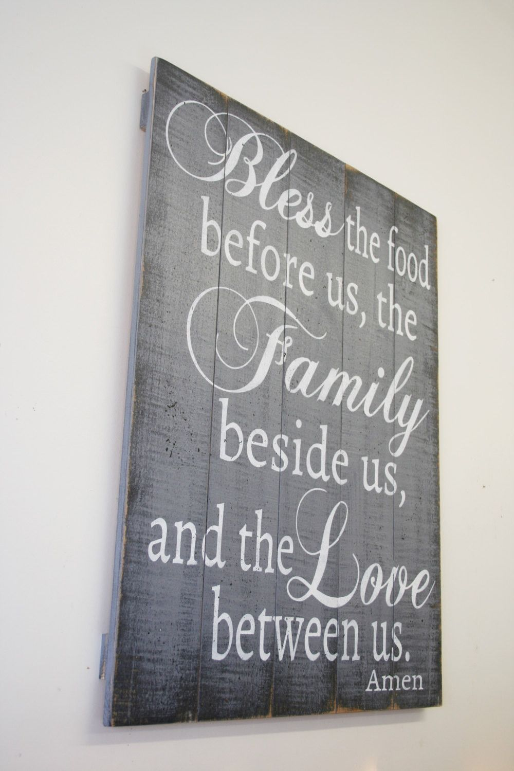 Bless The Food Pallet Sign Rustic Wood Dining Room Kitchen Gray Home Decor