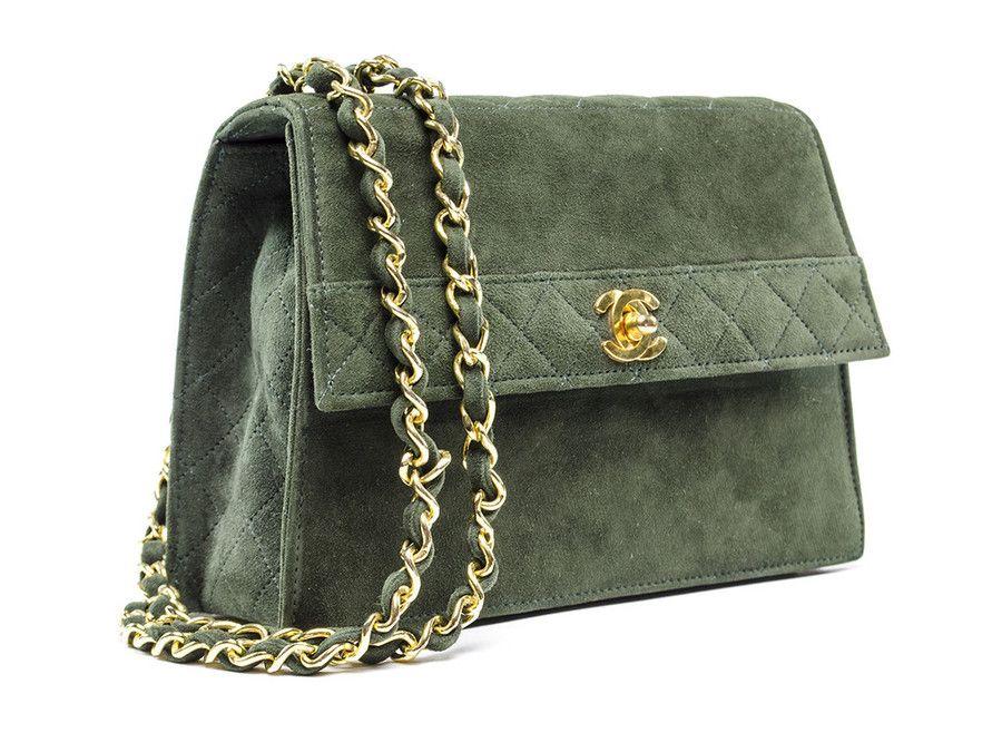748d2f80ae12 Chanel Vintage Green Suede Flap Shoulder Bag  FollowShopHers ...