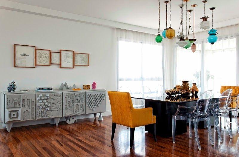 composição pendentes coloridos - sala de jantar