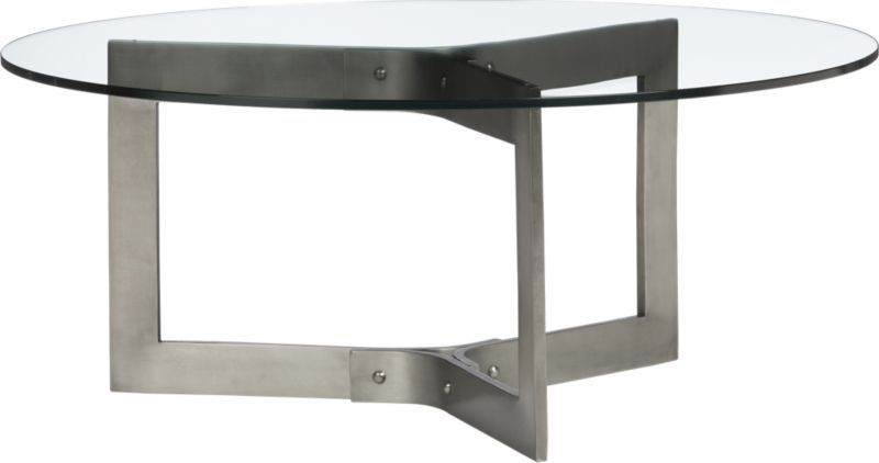 rivet coffee table in accent tables | crate and barrel 17 hi x 40