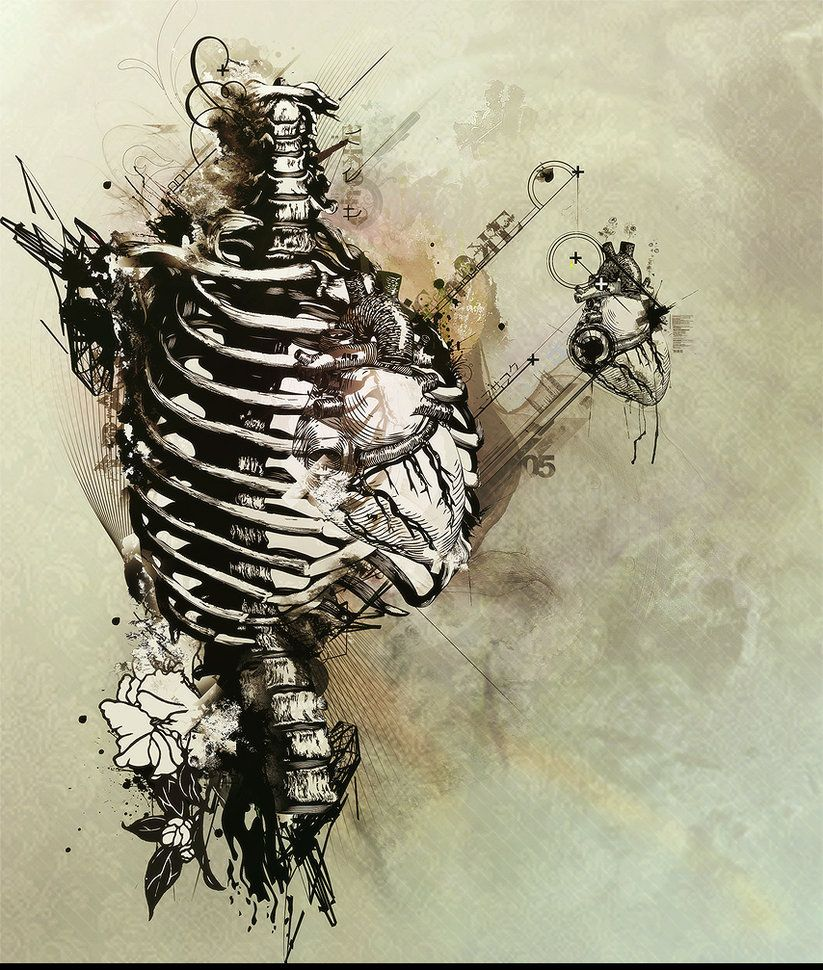Graphic Design: The Structure and spiraling of the bones/rib cage.