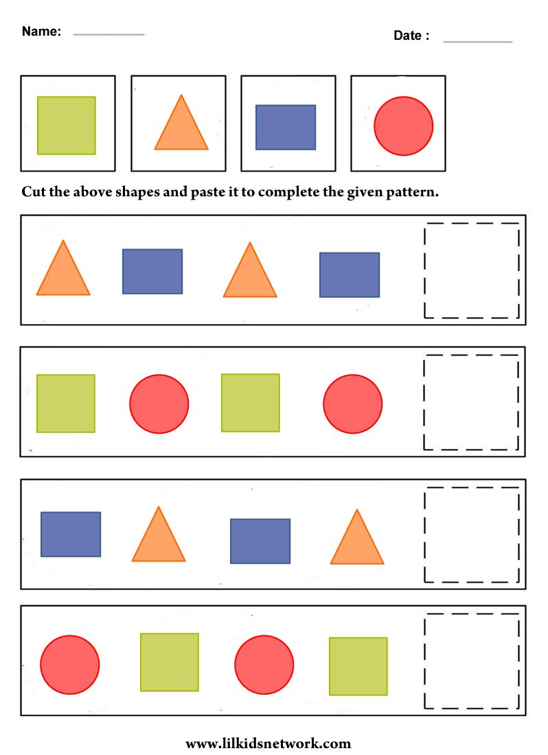 shape pattern worksheet for preschooler t l preschool. Black Bedroom Furniture Sets. Home Design Ideas