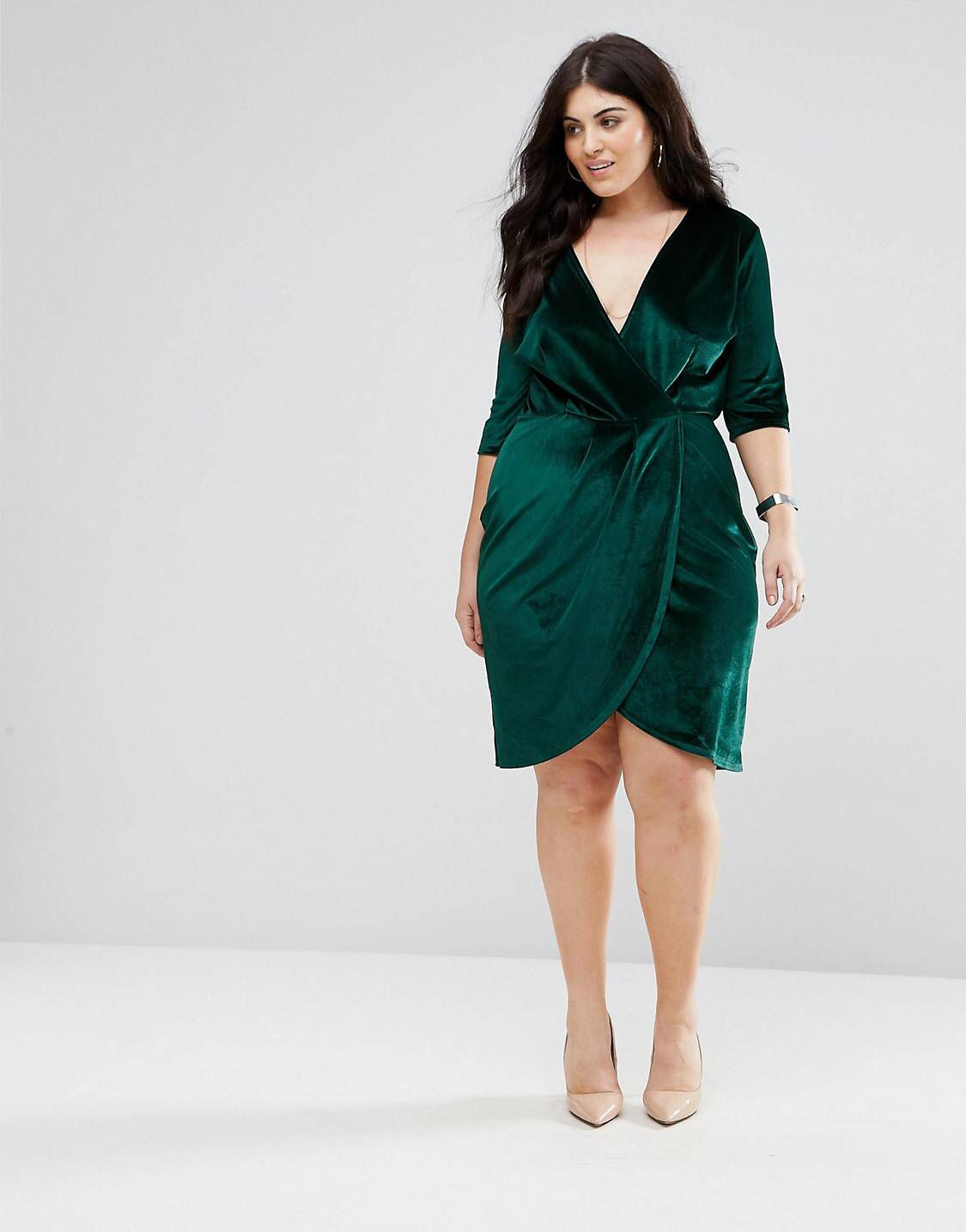 2f95924cc8 Green velvet wrap dress