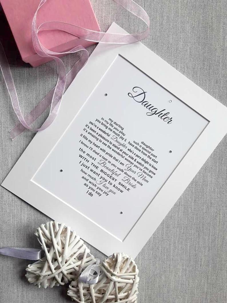 Daughter wedding day unframed wedding gift for daughter