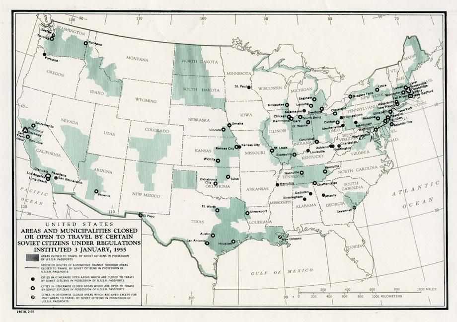No Go Zones In Us Map 1955 Map Shows No Go Zones for Soviet Travelers in the U.S. | Cold