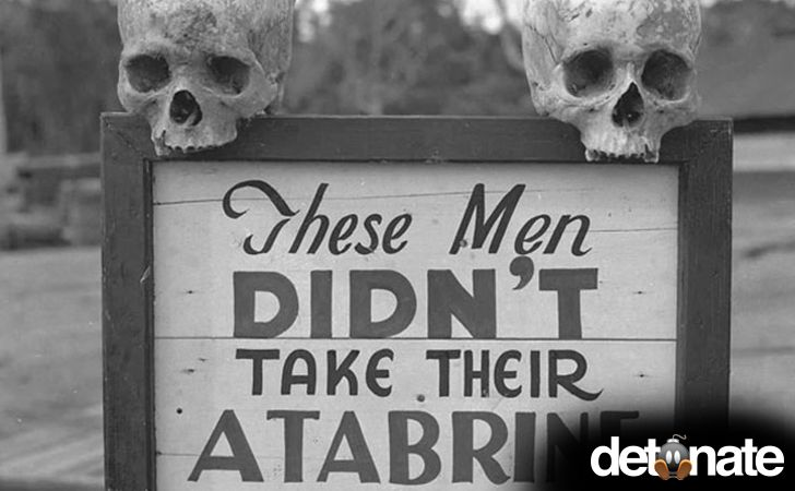 Drug Advertisement -- Advertisement for Atabrine, anti-malaria drug, in Papua, New Guinea during WWII