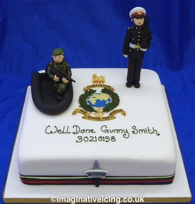 Royal Marines Commando passing out celebration cake Ash birth