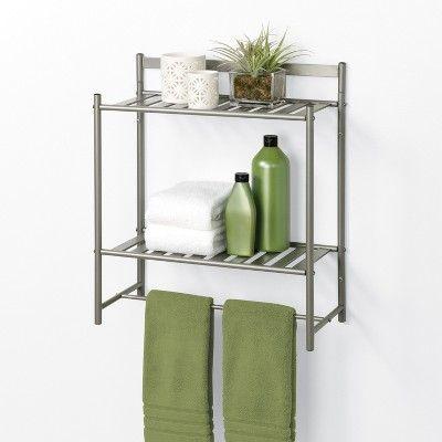 Slat Style Decorative Wall Cabinet Brushed Nickel Zenna Home