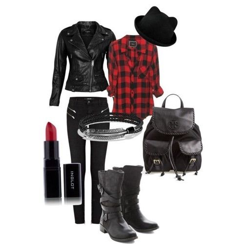 Image via We Heart It https://weheartit.com/entry/165376033 #biker #black #boots #fashion #girl #hat #jacket #jeans #leather #outfit #red #shirt #style #fashiolista #ootd