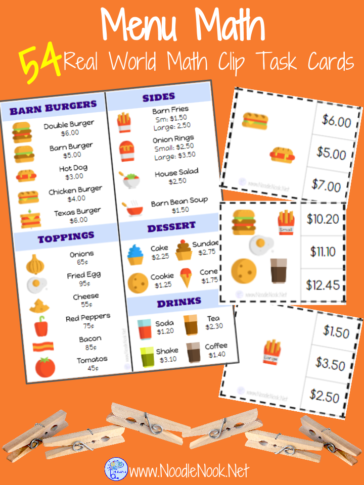 Menu Math Clip Cards for Special Education. Perfect for