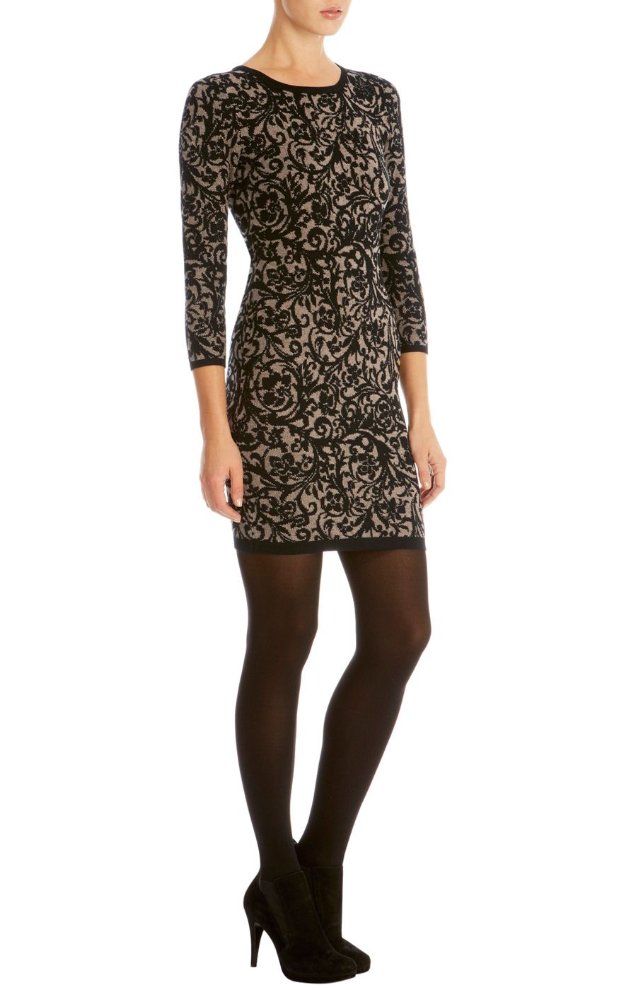 Brocade jacquard knit dress | Luxury Women's shop_all | Karen Millen