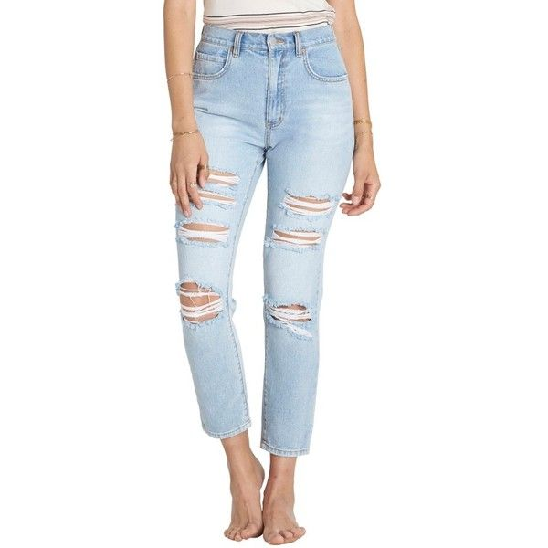Women s Billabong Ripped High Waist Crop Jeans ( 70) ❤ liked on Polyvore  featuring jeans 08abcaf2f2b