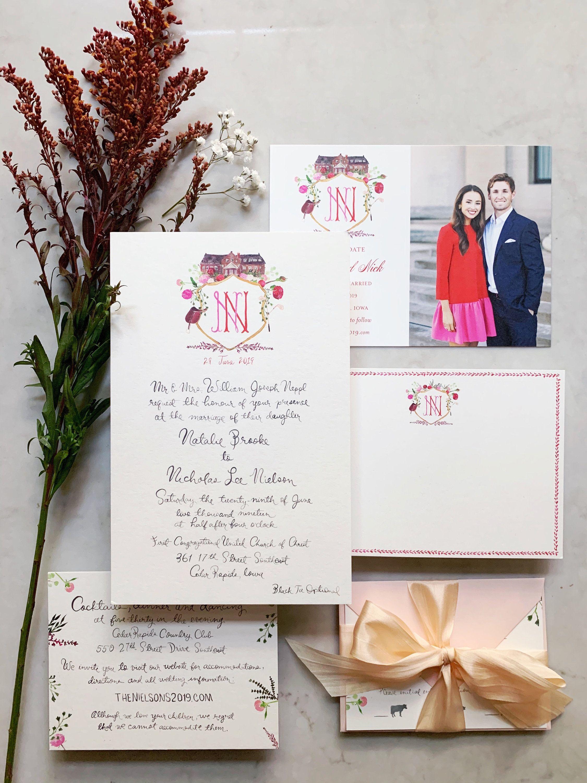 Custom Watercolor Wedding Invitations Custom Painted Wedding