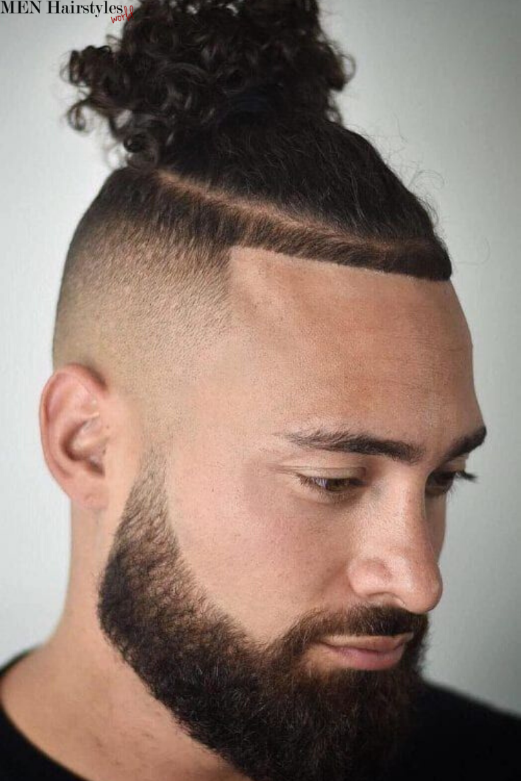 Cool Top Knot Styles For Men Top Knot Hairstyles Mens Hairstyles Man Bun Curly Hair