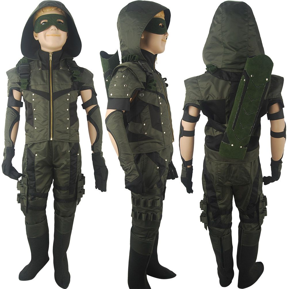 Kids Arrow Season 4 Oliver Queen Superhero Jacket Hoodie Cosplay Halloween Costume Full Set X Mas Gift Toys Comic Con Super Hero Costumes Deluxe Halloween Costumes Comic Con Costumes
