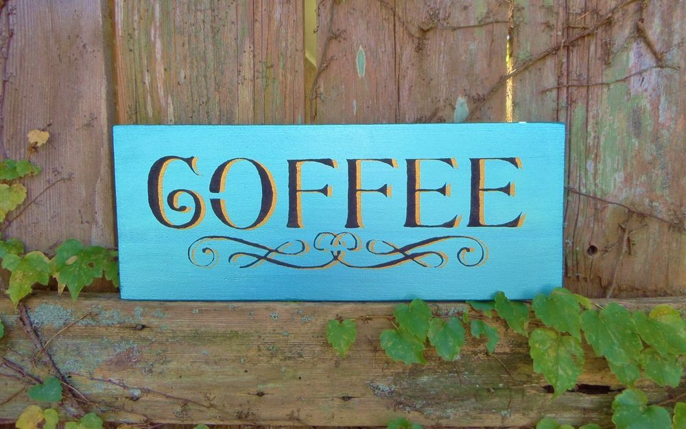 coffee unique charming hand painted wood sign home kitchen - Painted Wood Cafe Decoration