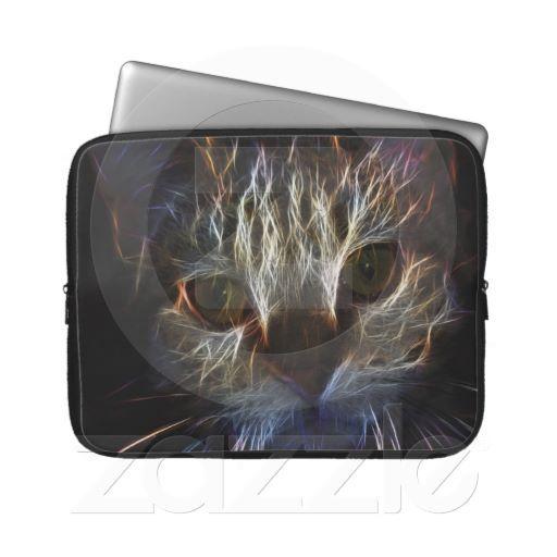 Brilliant Kitty Cat Shiny Fire Fractal Art Laptop Computer Sleeve
