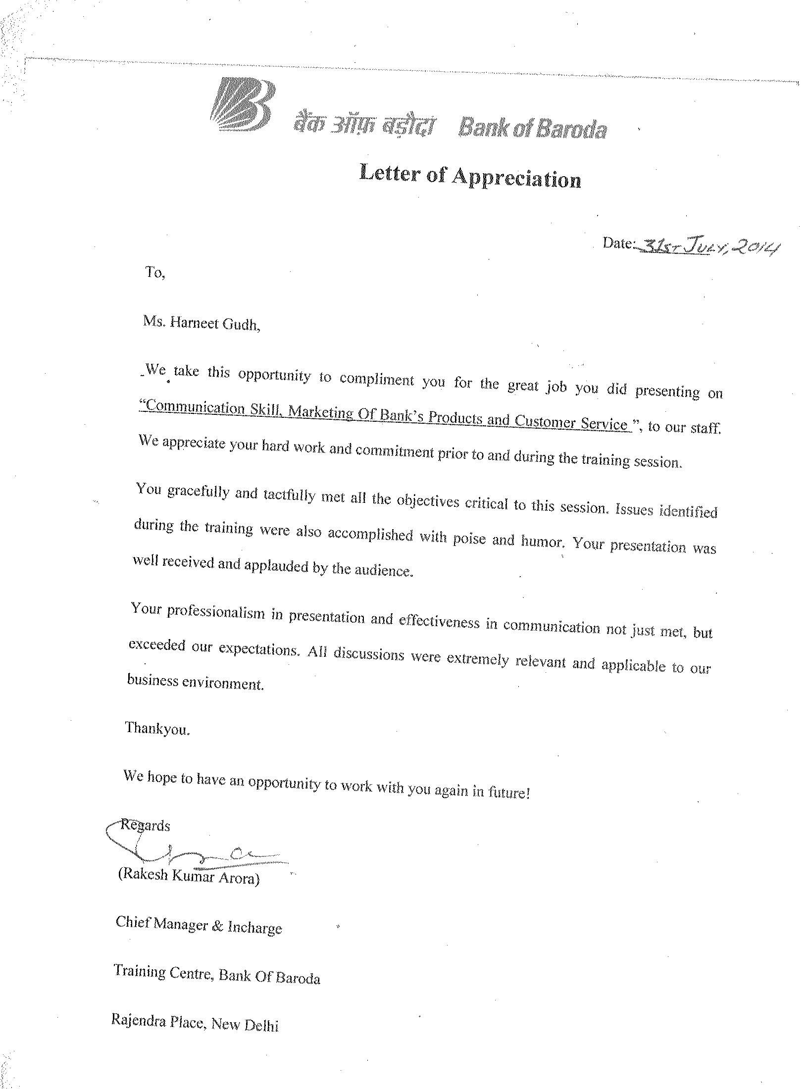 Appreciation Letter Boss For Training From Chairman Istd Goa