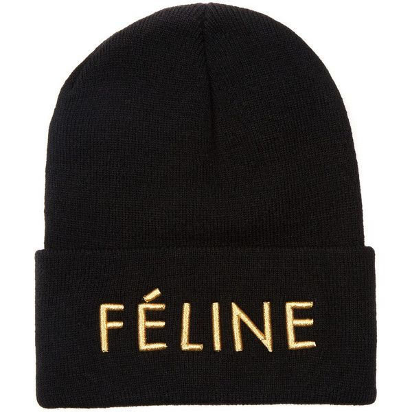 Brian Lichtenberg Féline embroidered knitted beanie ($28) found on Polyvore featuring accessories, hats, black, embroidered hats, embroidery hats, embroidered beanie hats, black hat and black beanie hat