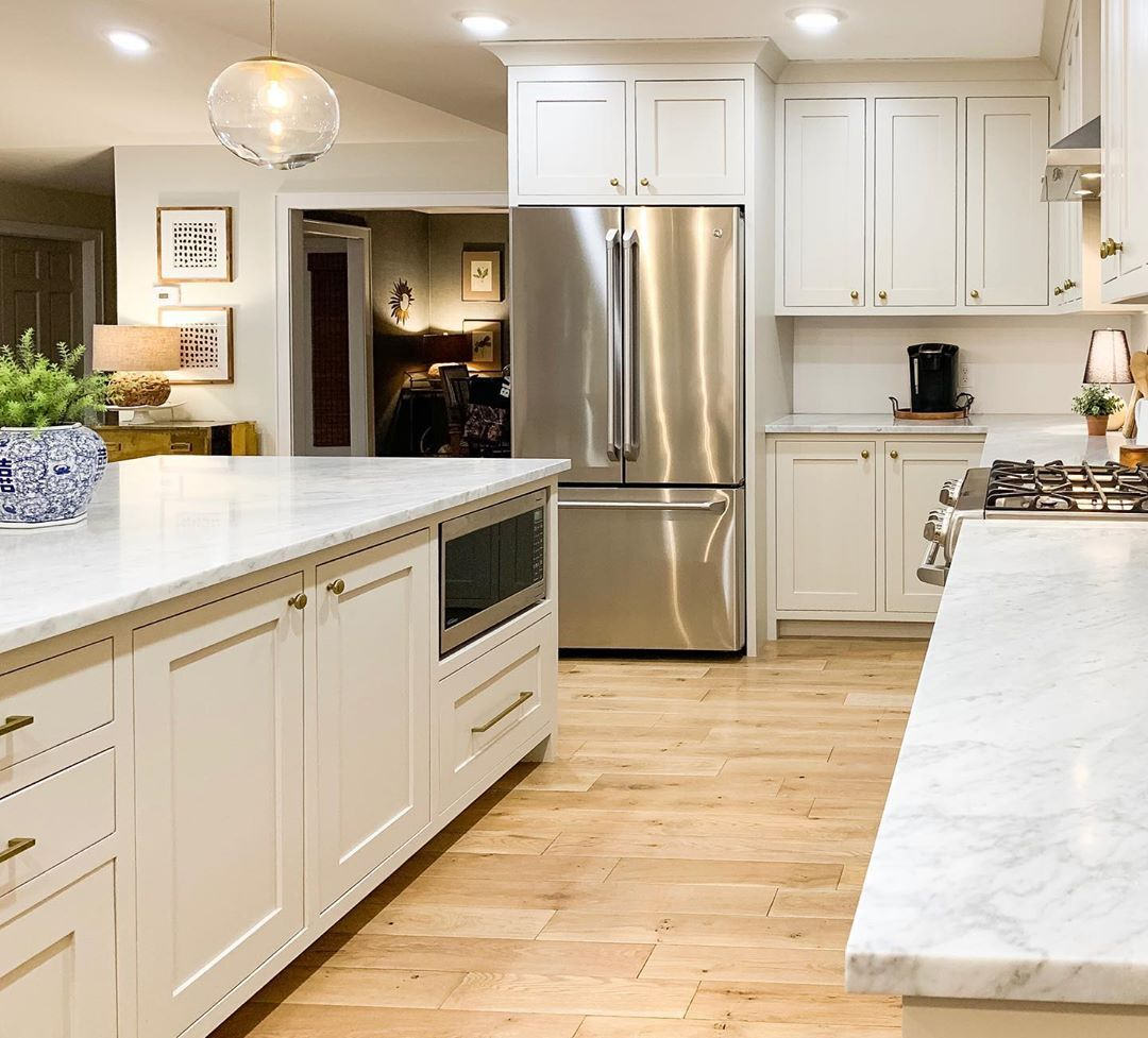 Kayla Payne On Instagram Revere Pewter Cabinets With Carrara Marble Countertops In 2020 Revere Pewter Kitchen Painting Kitchen Cabinets Revere Pewter Benjamin Moore