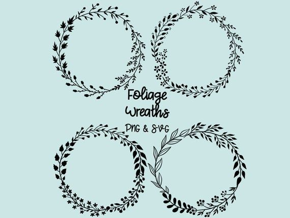 Photo of FOLIAGE LEAF WREATHS, hand-drawn wreaths, doodle clipart, floral wreaths, rustic, drawn wreaths, svg cricut, wreath svg cut file, laurels