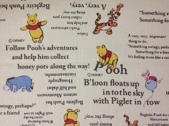 This listing is for Winnie the Pooh and Friends Adventures, Disney fabric. Very cute.  Color: Off White. Size: As Listed. 100% Cotton Twill
