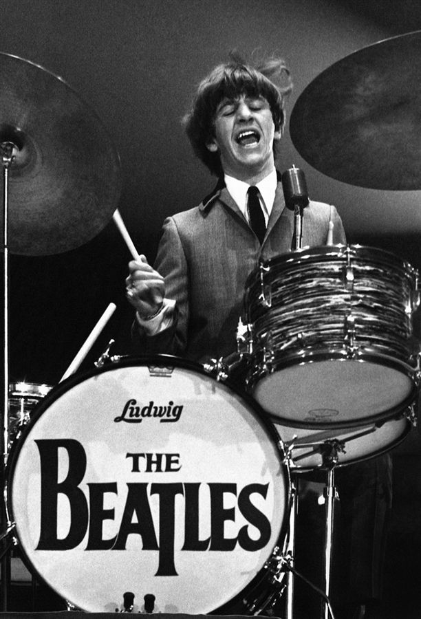 Mike MITCHELL Ringo Starr Plays Drums During A Concert 1964