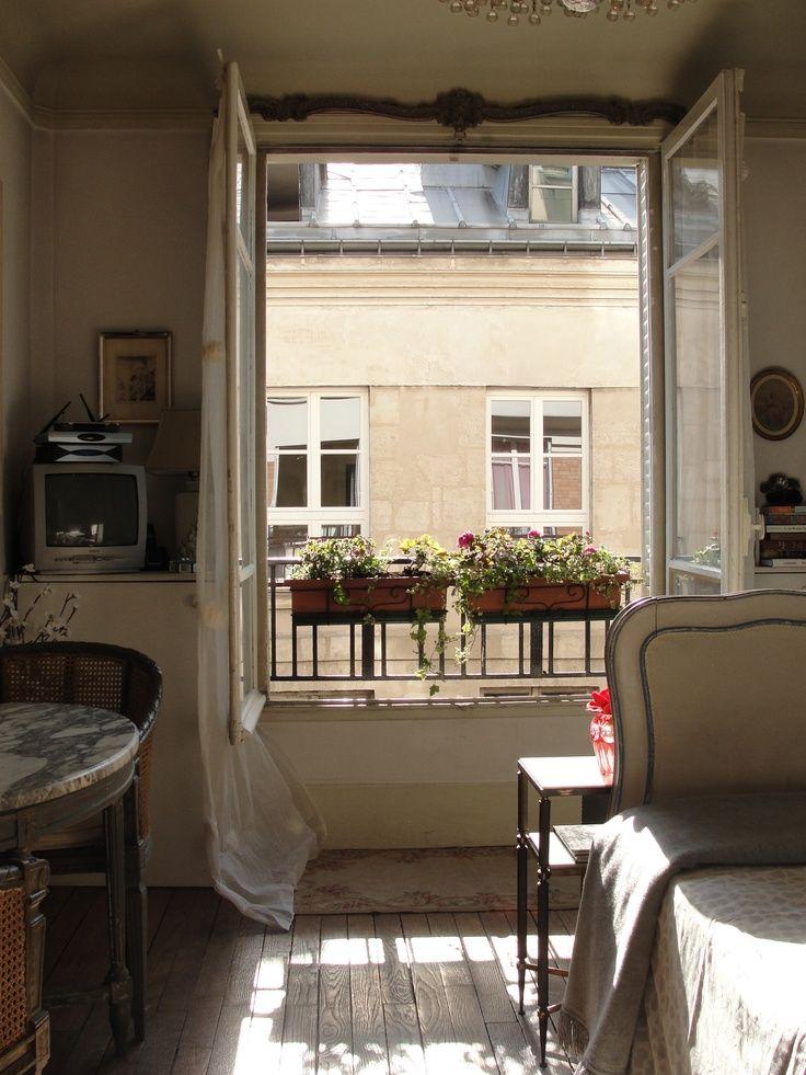 Floors, window, window boxes Tiny, chic Paris apartment