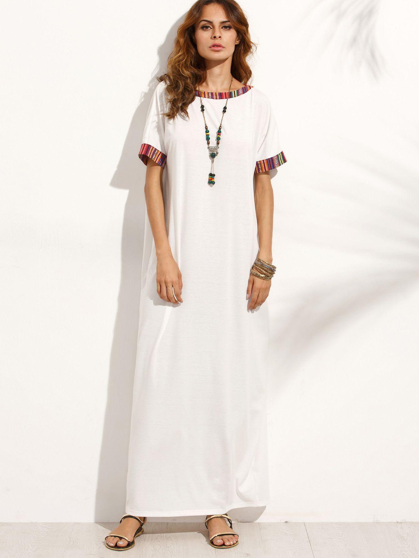 Beige round neck short sleeve colorful stripe trim maxi dress in