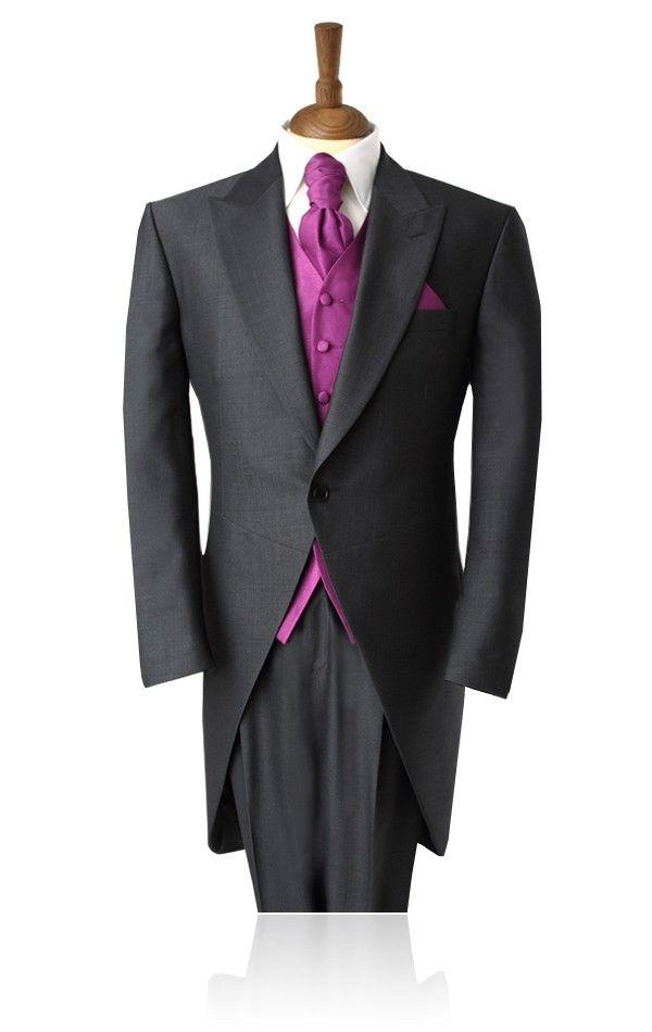 6af35a1de92d Black Herringbone Morning Suit with Striped Pants | Formal Daytime Wedding  | Morning suits, Morning coat, Morning dress