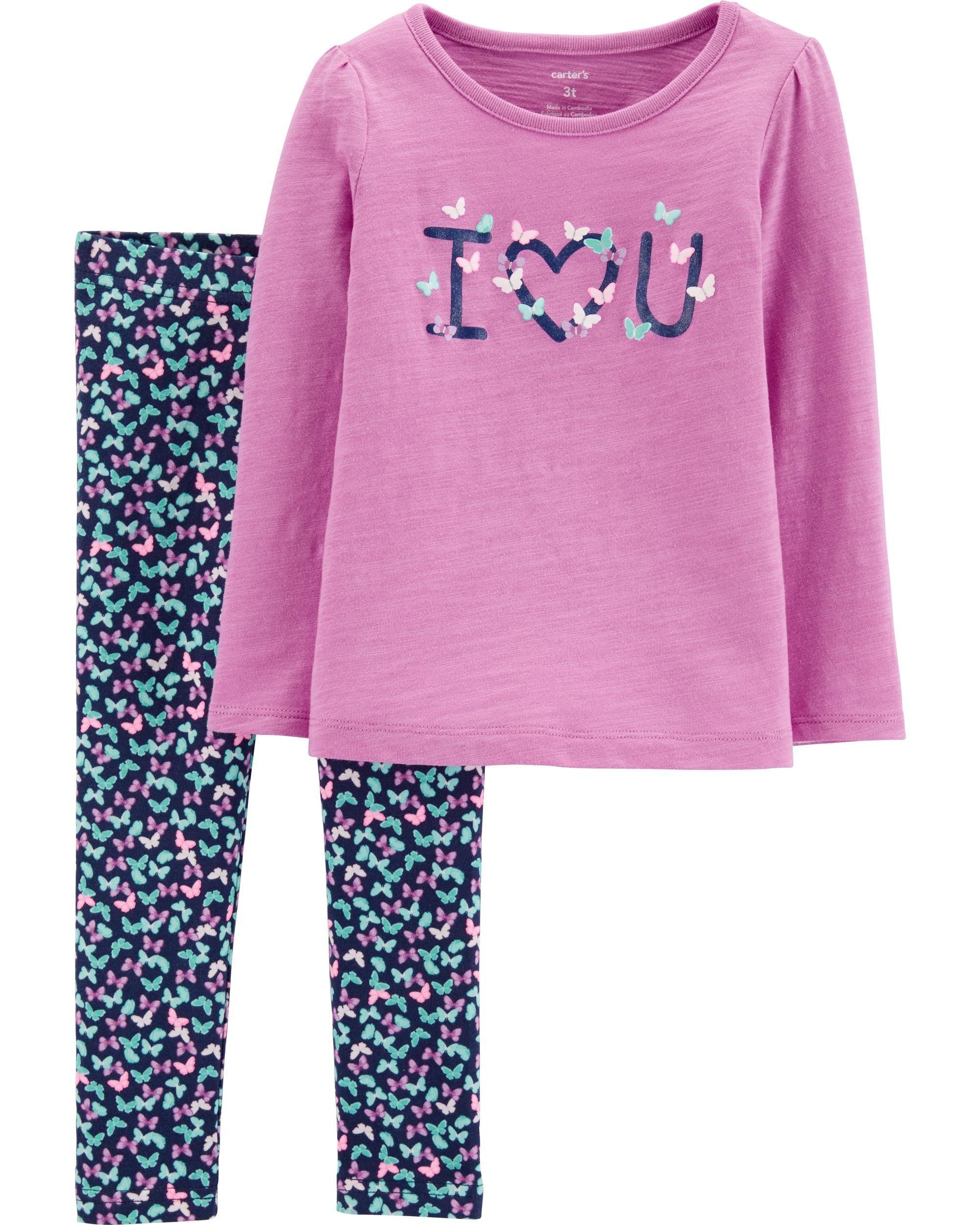 b487bbe57593a Baby Girl 2-Piece I Love You Slub Top & Floral Legging Set | Carters.com