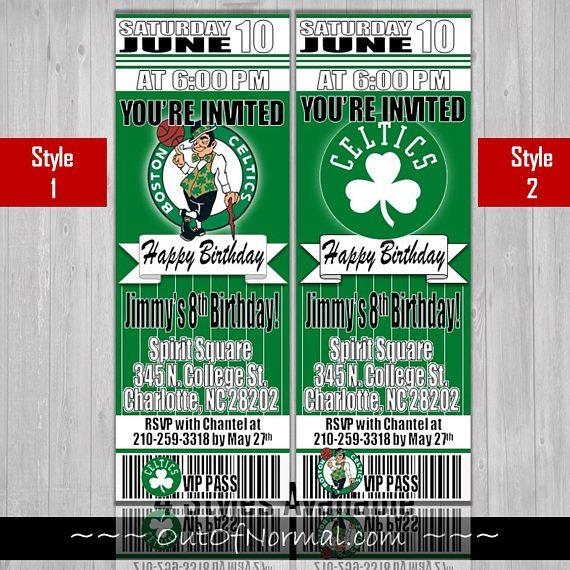 Boston Celtics Themed Birthday Invitation Tickets NBA 7th 1st Parties Gifts