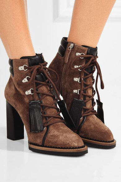 Heel measures approximately 105mm/ 4 inches Tan suede, black laether Lace-up  front