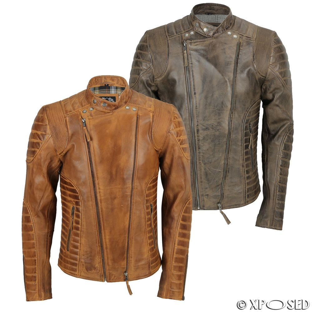Details about Mens Real Soft Leather Quilted Panel Retro
