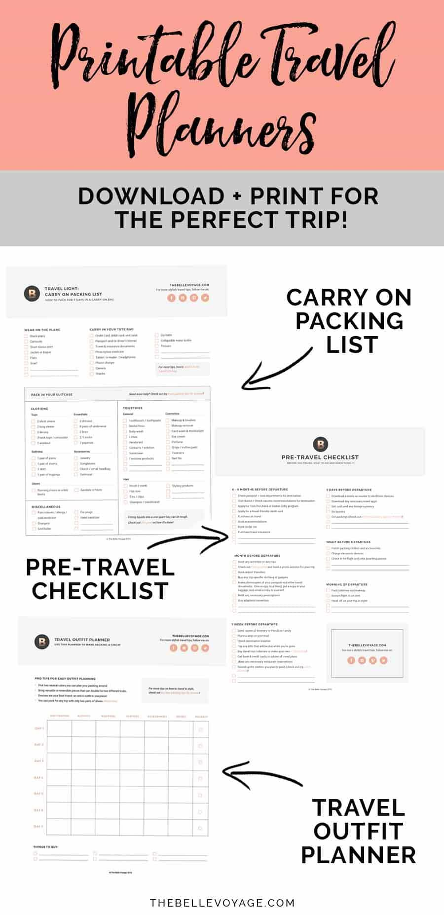 Printable Ultimate Packing Checklist For Travel  Packing
