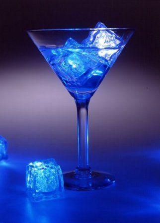 firefly 12 x led liquid sensor ice cubes shape blue color light lamp