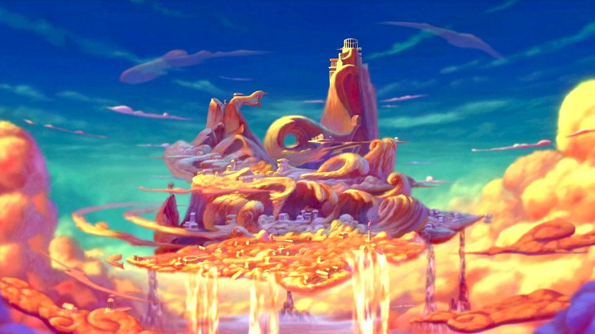 Mt. Olympus as featured on Disney's Hercules---Painted & Soft Textures    Dessin nuage, Mont olympe, Hercule