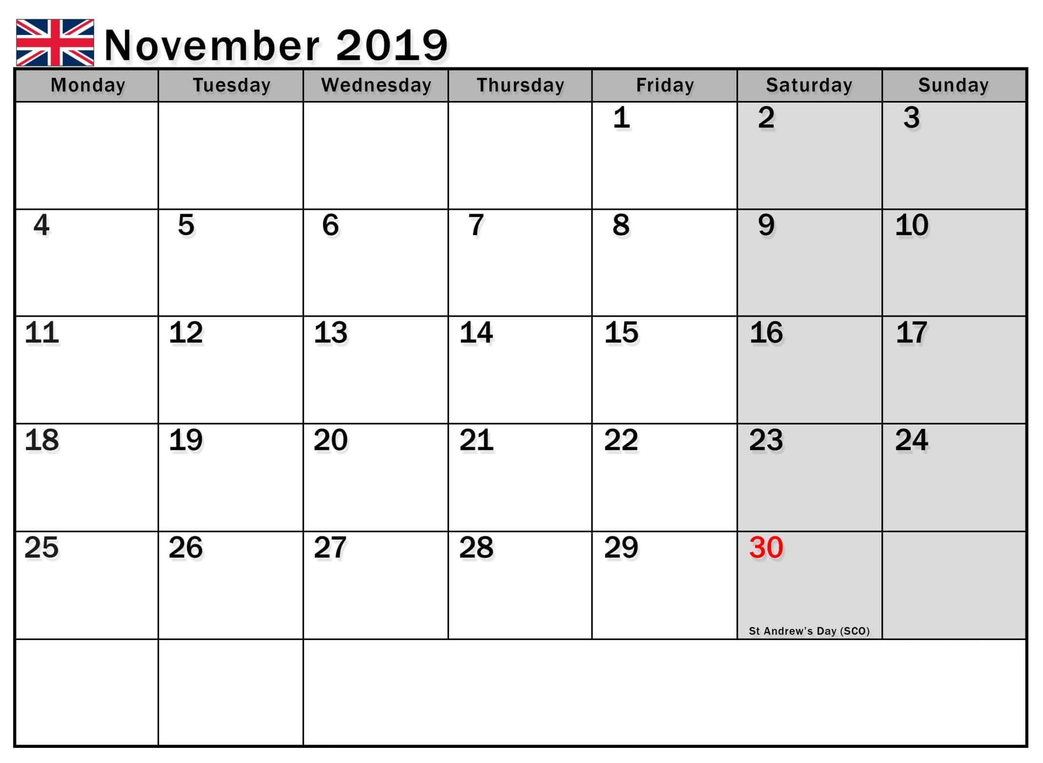 November 2019 Calendar UK National Holidays Holiday
