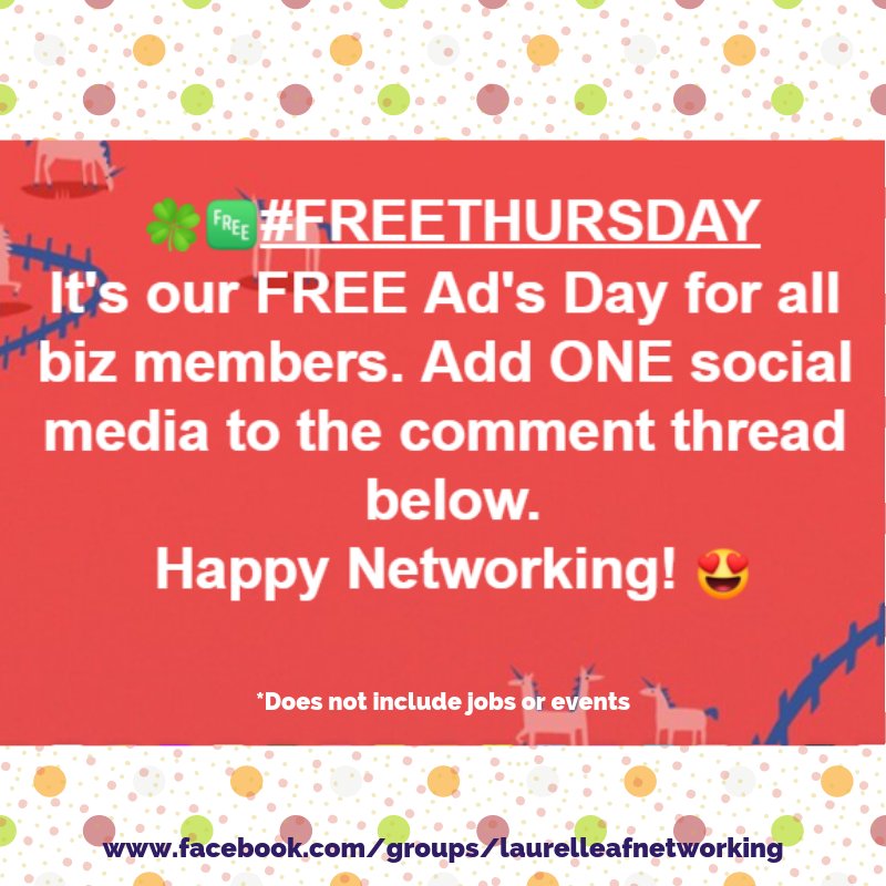 🍀 Welcome to 🆓 FREE THURSDAY 🆓 over on our Facebook